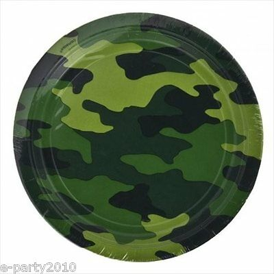 MILITARY CAMOUFLAGE SMALL PAPER PLATES (8)~ Birthday Party Supplies Dessert Cake (Military Birthday Supplies)