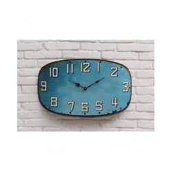 Rustic Wall Clock Metal Turquoise Distressed Modern Vintage Shabby Chic Large