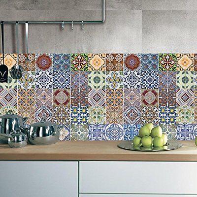 48pcs Mexican Talavera Self Adhesive Tile Stickers Kitchen Backsplash Decor (Adhesive Tile Stickers)