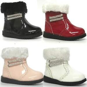 GIRLS-BIKER-BOOTS-WINTER-ANKLE-TODDLERS-WARM-PARTY-FUR-ZIP-BABY-INFANTS-SHOE-SIZ