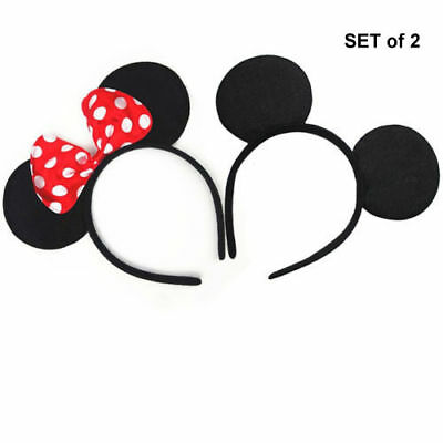 Mickey Minnie Mouse Ears Headband Hairband  Set of 2 For KID or ADULT FREE - Disney Princess For Adults