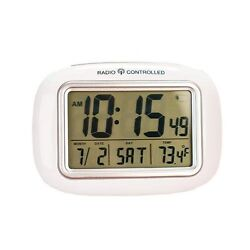 New EasyComforts White Large Screen Radio Atomic Alarm Clock Digital Screen Face