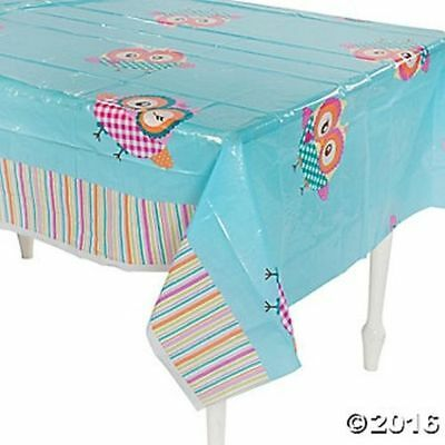 Blue Owl Bird Table Cover Tablecloth Birthday Party Decoration (Blue Gingham Plastic Tablecloth)