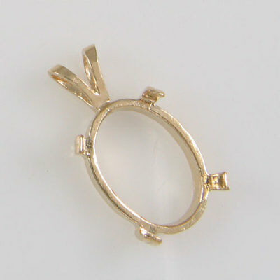 PRENOTCHED OVAL CABOCHON PENDANT 14X10MM IN YELLOW GOLD CP158-10KY