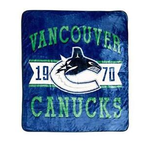 "Vancouver Canucks NHL Luxury Velour Blanket Ultra Soft Throw Blanket 60"" x 80"""