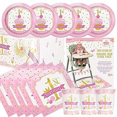 First Birthday Tableware (FIRST 1st BIRTHDAY GIRL PINK & GOLD Party Tableware Range Balloons &)