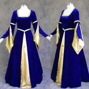 Medieval-Renaissance-Gown-Dress-Costume-BLUE-Wedding-L