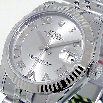 $6350.00 - UNWORN ROLEX DATEJUST 178274 31 mm RHODIUM ROMAN DIAL STEEL WHITE GOLD JUBILEE