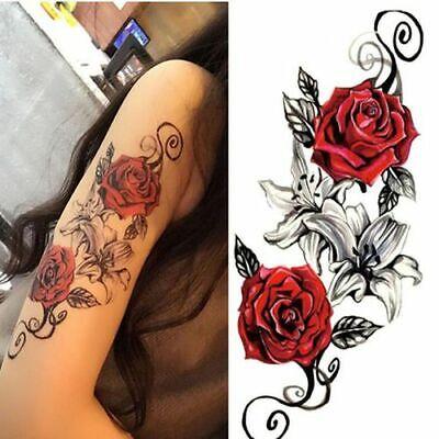 Flash Einmal Temporary Klebe Tattoo Rot Rose Körper Body Sticker Geschenk Party