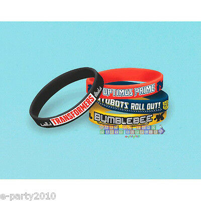 TRANSFORMERS RUBBER BRACELETS (6) ~ Birthday Party Supplies Favors Bumblebee - Transformers Birthday