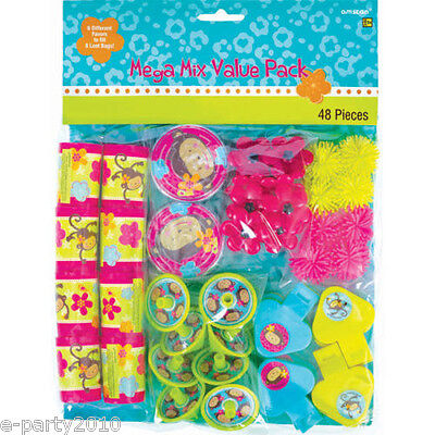 CK (48pc) ~ Birthday Party Supplies Toys Pink Mod Filler  (Monkey Love Party Favors)