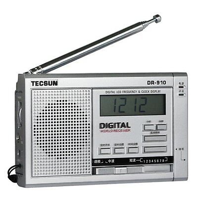 TECSUN DR-910 Digital FM, MW, SW World Band Radio Silver