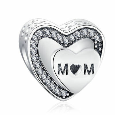Beautiful Pandora MOM Charm Double Hearts 100% S925 Sterling Silver Mother's Day - Mother's Day Charms
