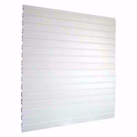 Slatwall Panel Pvc White Plastic Interlocking Contains Four Interlocking Panels
