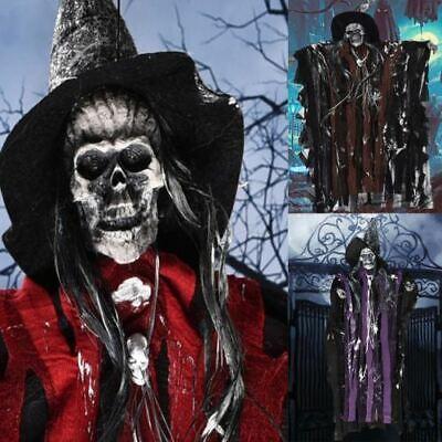 Halloween Horror Dekoration Wandbehang Totenkopf Geist Hexe LED Soundeffekt 75cm (Halloween Horror Sounds Effekte)