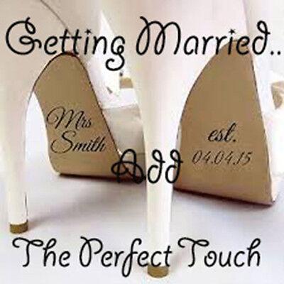 X1 Pair Personlised Wedding Shoe Stickers, Bridal, Bridesmaid, Groom, Xmas