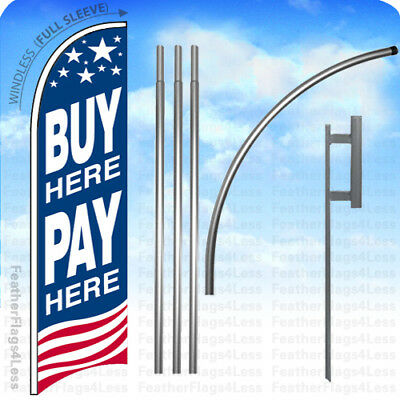 Buy Here Pay Here - Windless Swooper Flag Kit Feather Banner Sign 15 Set Usa Bb