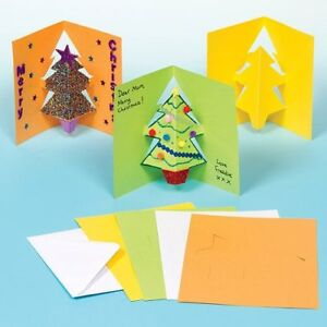 8 Make Your Own Kids Christmas Cards Xmas Tree Pop-out Card Blank Decorate Craft
