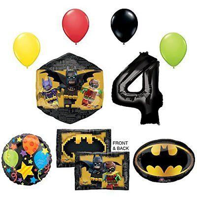The Lego Batman Movie 4th Birthday Party Supplies and Balloon - Lego Batman Balloons