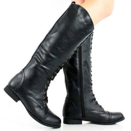 knee high lace up boots ebay