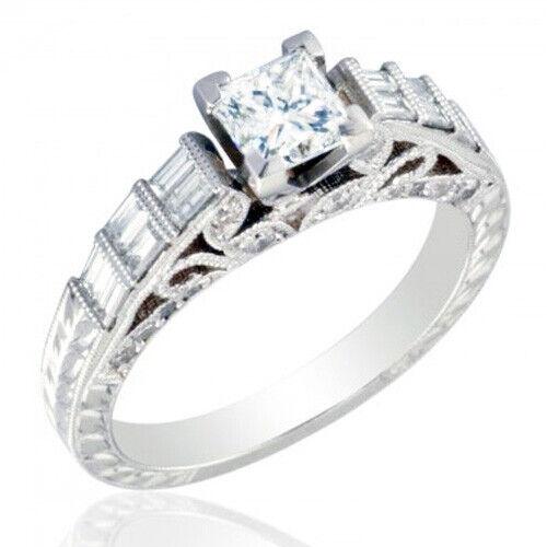 GIA Certified Diamond Engagement Ring 1.48 CTW Princess Cut 14k White Gold 2