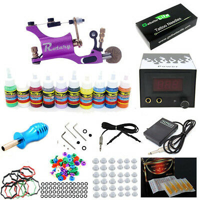 Complete Starter Tattoo Kit One Machine Gun 10 Inks 50 Ne...