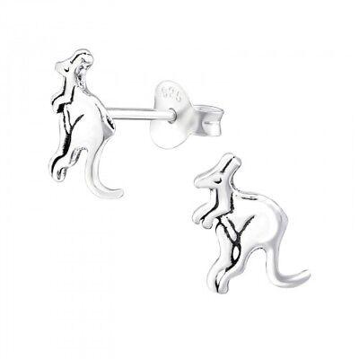 925 Sterling Silver Kangaroo Australia Stud Earrings 7x9mm & Gift Box #2