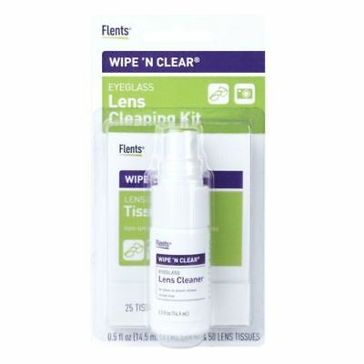 (NEW  WIPE 'N CLEAR  Eyeglass Glasses Cleaner Kit Spray AND 50 TISSUES)