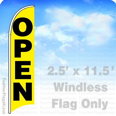 Open - Windless Swooper Flag Feather Banner Sign 2.5x11.5 - Yb