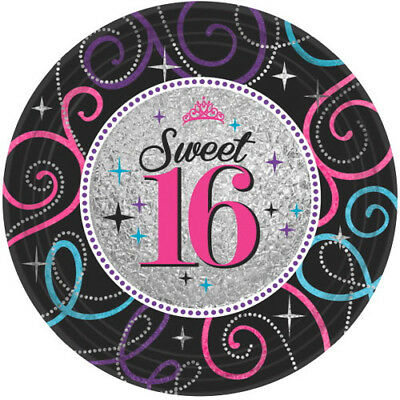 HAPPY BIRTHDAY Sweet 16 LARGE PAPER PLATES (8) ~ Party Supplies Dinner Luncheon