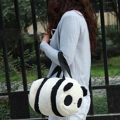 Cute Soft Plush Panda Cylindrical Handbag Travel Storage Shoulder Baby Bag