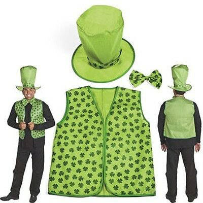 Adult LEPRECHAUN Easy Costume Kit St Patrick Day Halloween Vest Hat Tie - Leprechaun Costume Adult