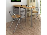 Compact dinning table and two chairs