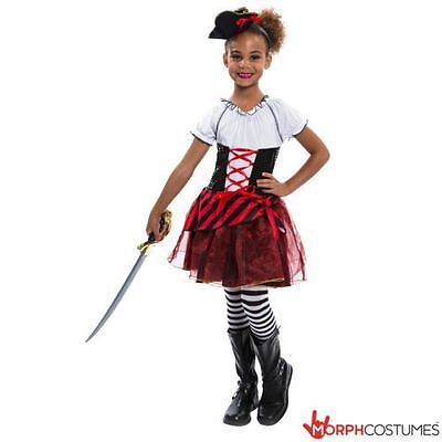 SALE Girls Caribbean Pirate Fancy Dress Captain Costume incl Hat for Halloween