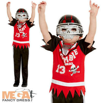 Zombie American Football Player Boys Fancy Dress Halloween Sports Kids Costume ](Kid Football Player Halloween Costume)
