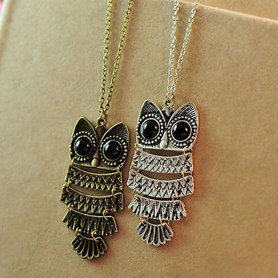 Eyed Owl Pendant - Fashion Retro Owl With Big Eye Pendant Necklace Sweater Long Chain Great Gift CA