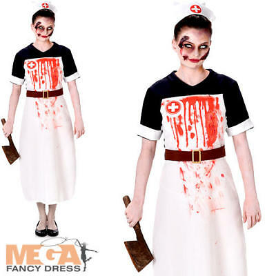 Zombie Nurse Ladies Fancy Dress Halloween Undead Gory Womens Adults Costume New - Gory Halloween Costumes Adults