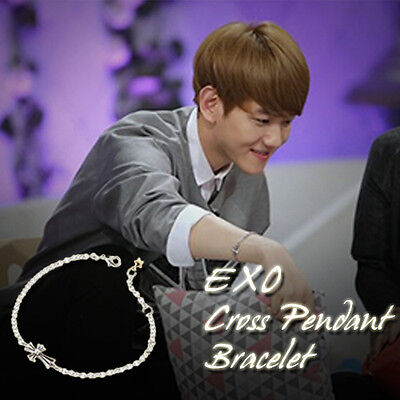 EXO BAEK HYUN Cross Pendant Bracelet Kpop Style Hot Item Made In Korea