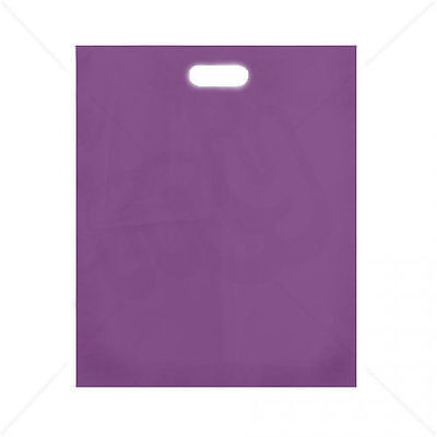 100 Purple Plastic Shopping Retail Carrier Bags 15 x 18 x 3 Inch Patch Handle