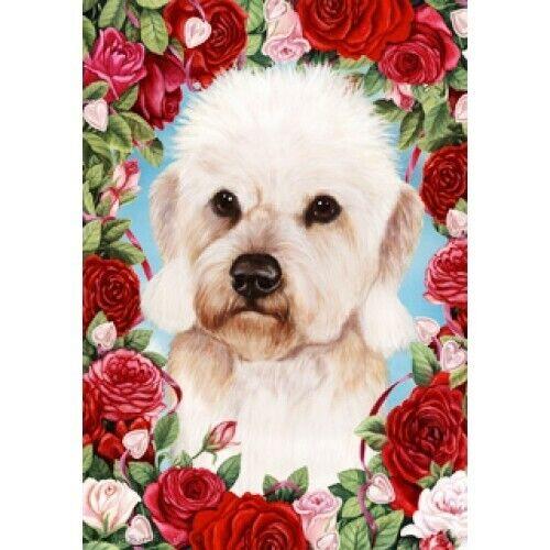 Roses Garden Flag - Mustard Dandie Dinmont Terrier 192101
