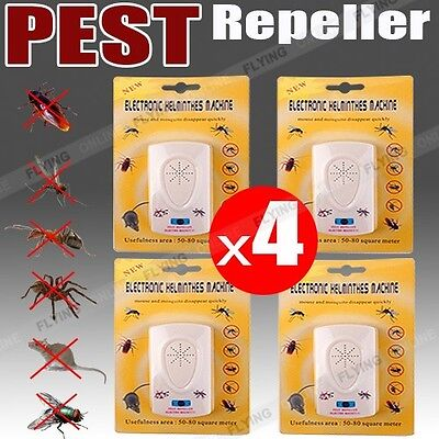 4X Pest Repeller Ultrasonic Electronic Mouse Rat Mosquito Insect Rodent Control
