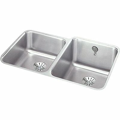 Elkay Lustertone Offset Double Bowl Undermount Stainless Steel Kitchen Sink (Stainless Steel Undermount Kitchen Sink Double Bowl Offset)