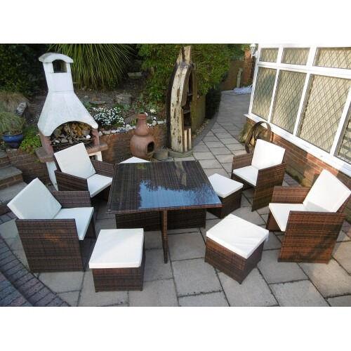 "Garden Furniture 8 Seats new ""cali"" cube rattan garden furniture set chairs sofa table"