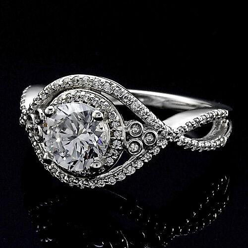 1.72 CT ROUND CUT DIAMOND HALO INFINITY ENGAGEMENT RING 14K WHITE GOLD