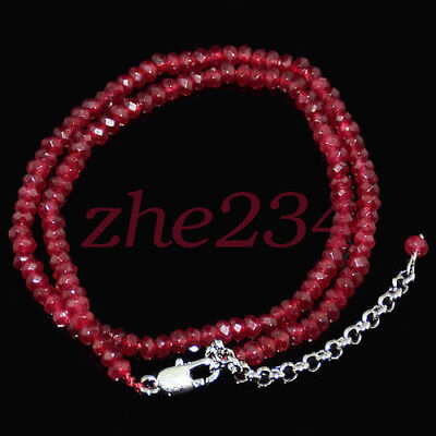 2x4mm Brazil Red Ruby Faceted Roundel Gems Beads Necklace Silver Clasp AAAA