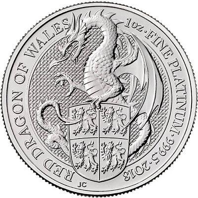 2018 1 oz British Platinum Queen's Beast Dragon Coin (BU)