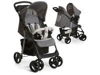 BARGAIN EXDISPLAY HAUCK TRAVEL SYSTEM 2 IN 1 GREY PRAM PUSHCHAIR CAR SEAT FROM BIRTH LAYS FLAT £99