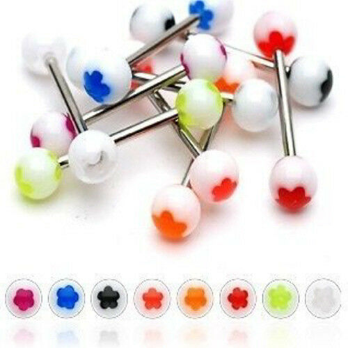 T#156 - 25pc Flower UV Acrylic Tongue Rings 14g Tounge