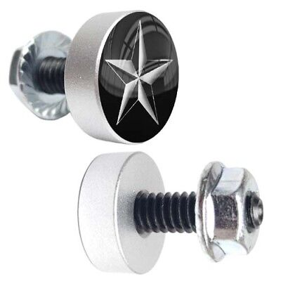 2 Silver Billet Motorcycle License Plate Frame Tag Bolts - WHITE NAUTICAL STAR
