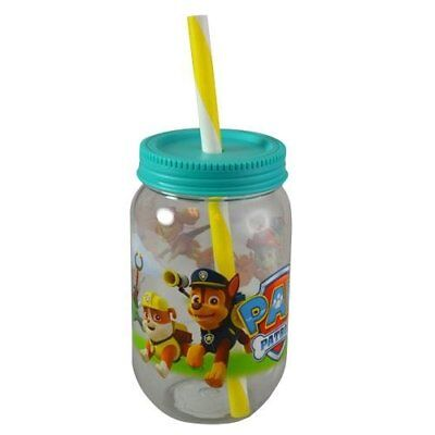 Clear Tumblers With Lid And Straw (NEW Nickelodeon 19 oz Paw Patrol Canning Jar Tumbler with Screw on Lid and)